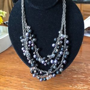 Jewelry - Silver and grey pearl necklace. 16-18 inch.